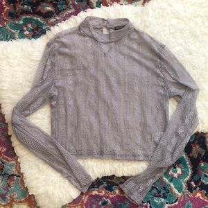 EUC Wild Fable Lilac Sheer Lace Long-sleeve Crop